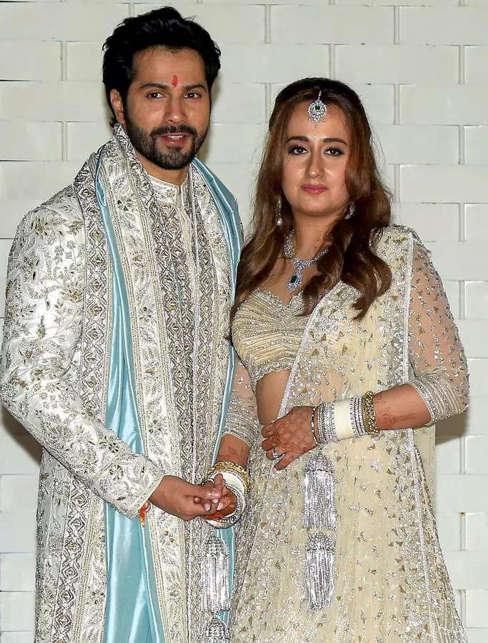 Alibaug: Bollywood actor Varun Dhawan and Natasha Dalal during their wedding cer...