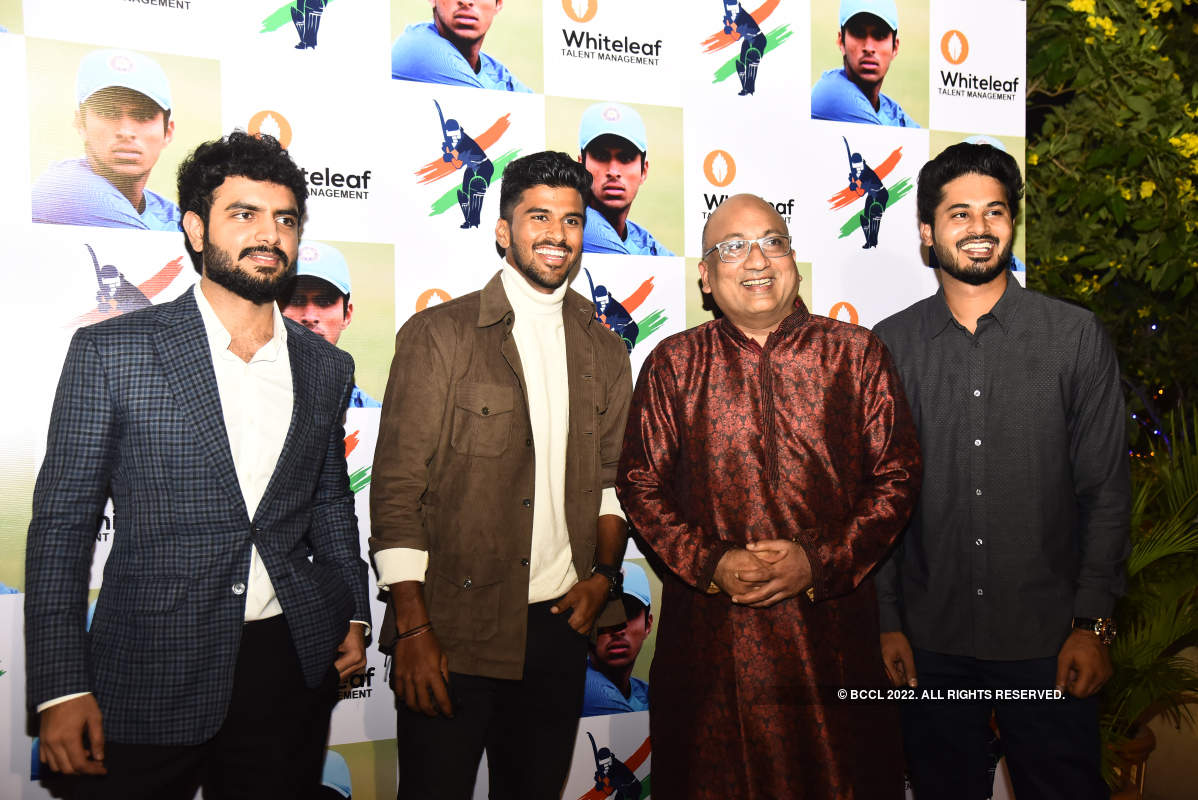 Indian cricketer Washington Sundar felicitated at an event