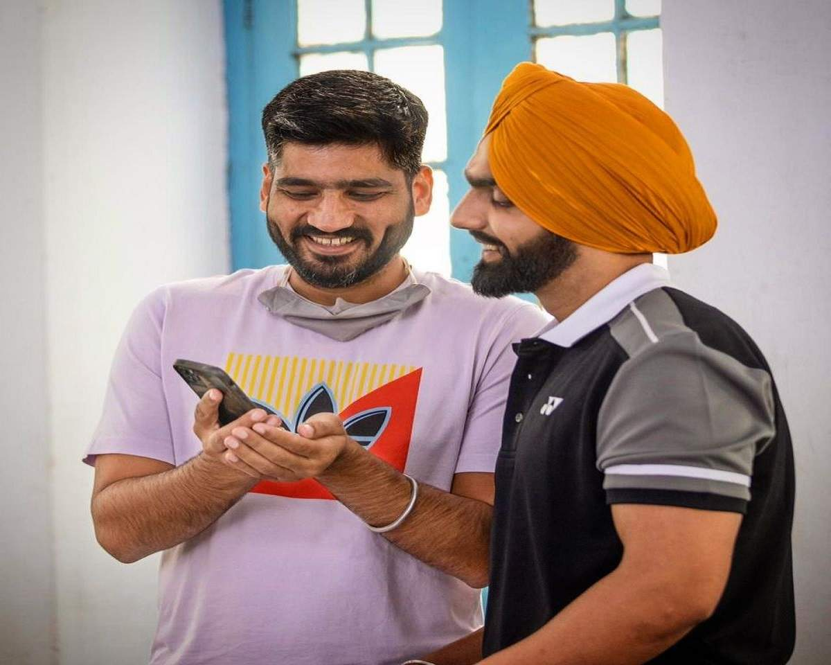 Jagdeep with actor Ammy Virk