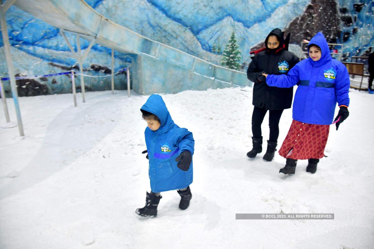 Mumbaikars attend the launch of Snow World