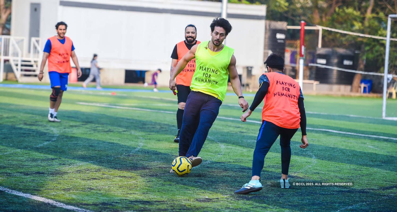 Tiger Shroff takes a day off; plays football with Abhimanyu Dasani & Aparshakti Khurana