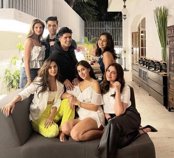 Sara Ali Khan, Kiara Advani, Karan Johar and other celebs enjoy Manish Malhotra's house party - Times of India