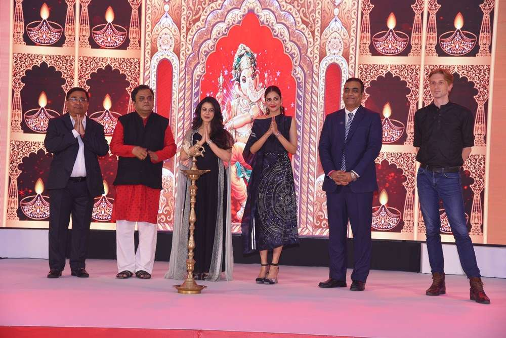 L to R - Lamp lighting ceremony by Subrata Chakraborty, Bratya Basu, Koel Mallick, Nusrat Jahan, Praveen Srivastava, Jacques Bartz