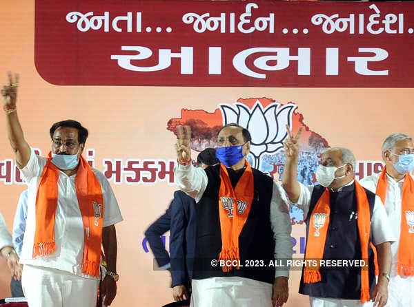 Civic polls: BJP celebrates victory in Gujarat