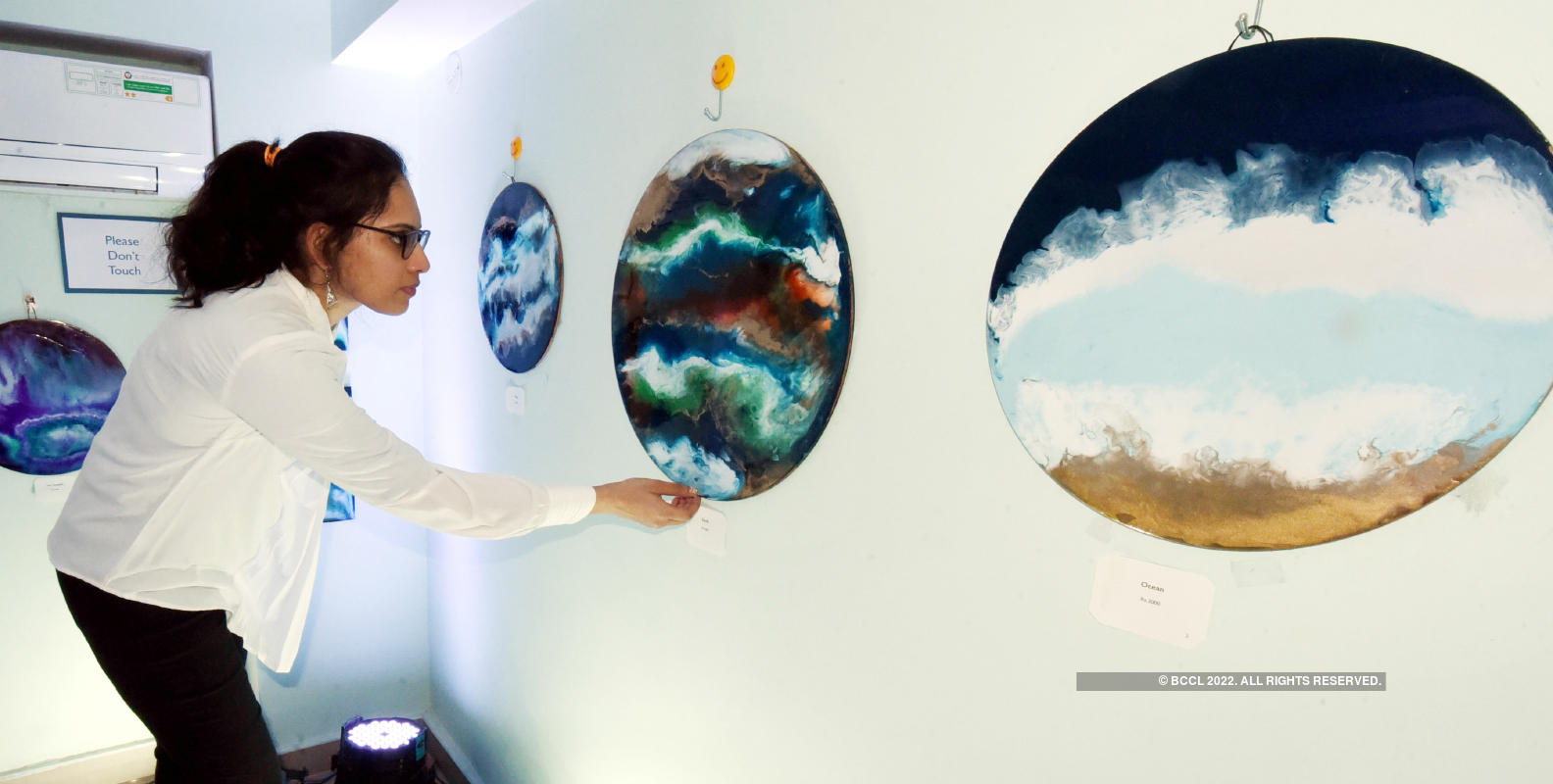 Jaipurites attend an abstract art exhibition