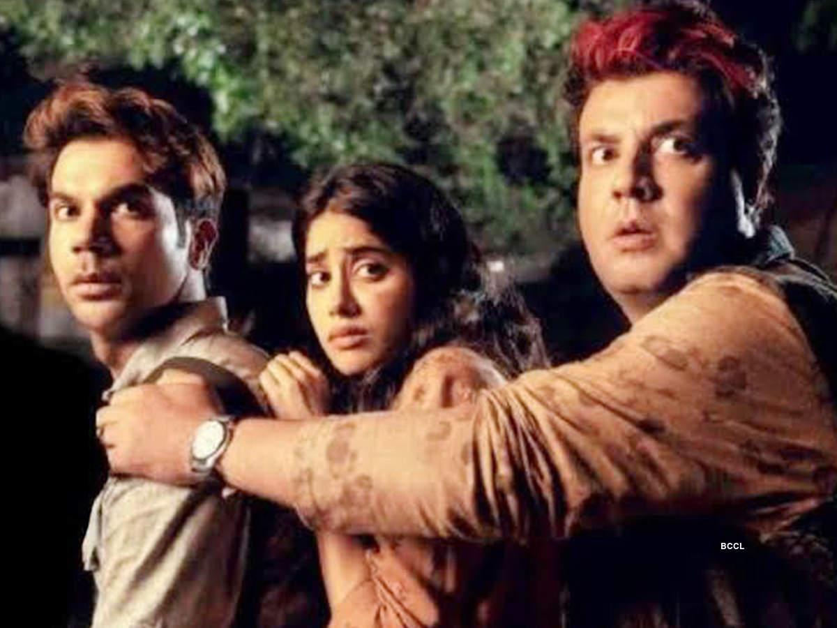 Varun Sharma with co-stars Rajkummar Rao and Janhvi Kapoor