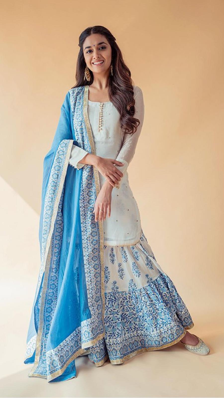 Blue sharara set