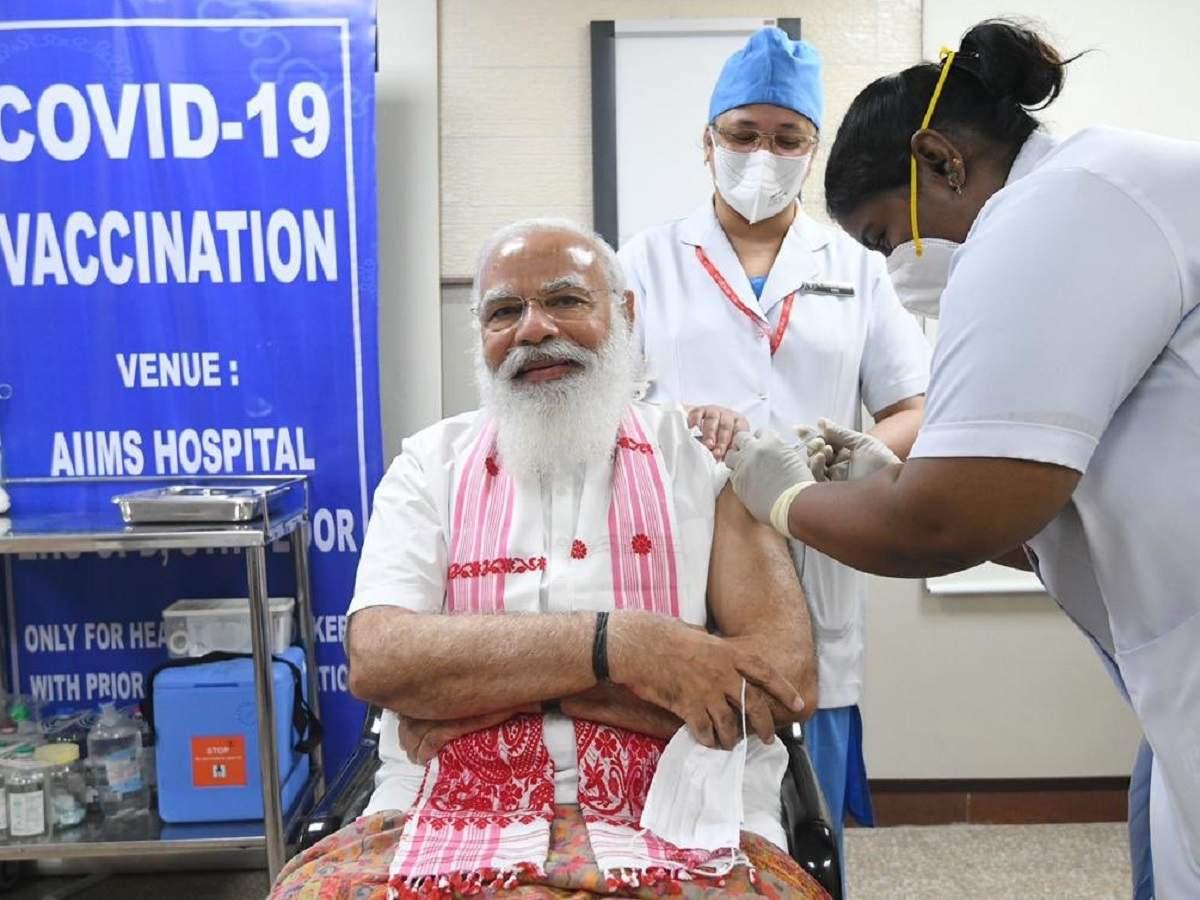 PM Narendra Modi takes first dose of Covid-19 vaccine at AIIMS
