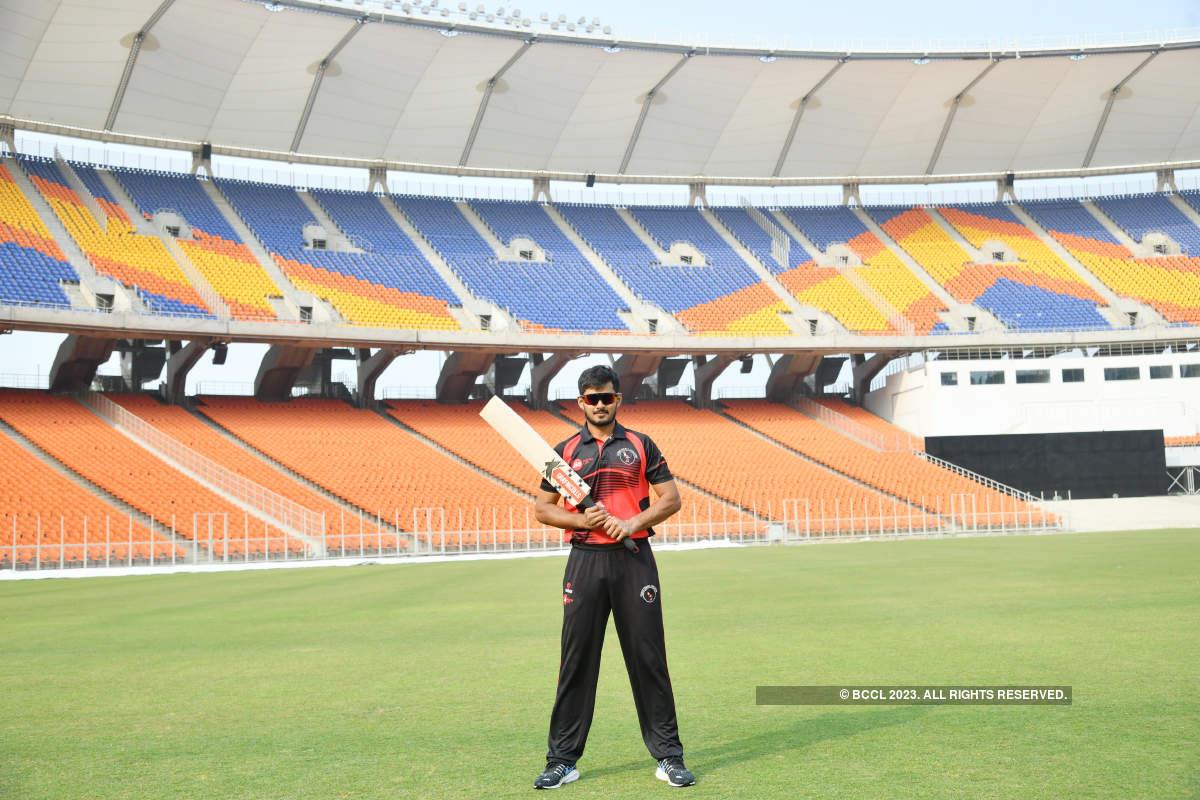 Cricketer Priyank Panchal trains at Narendra Modi Stadium