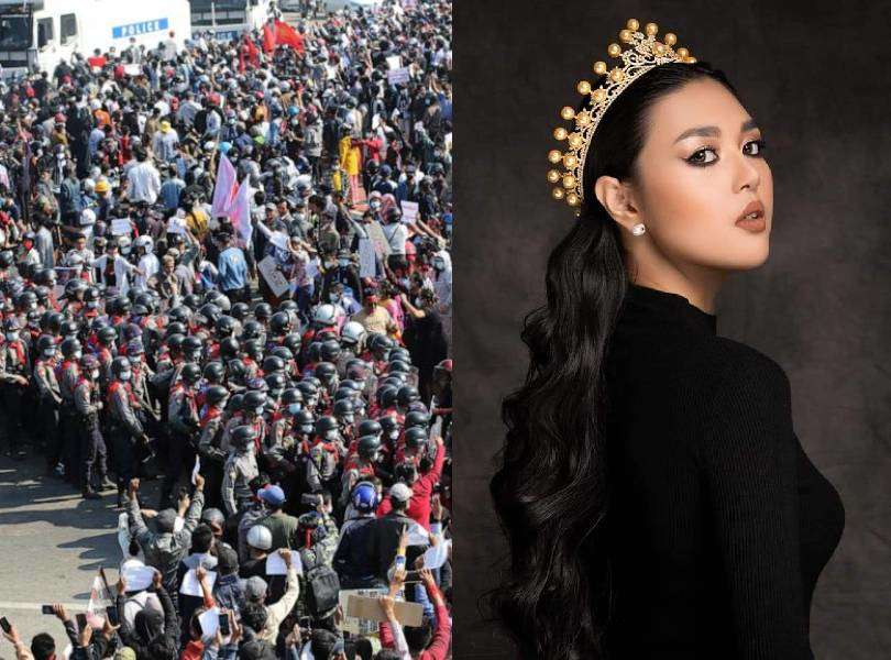 Beauty queen Htun Yadanar arrested during an ongoing protest in Myanmar