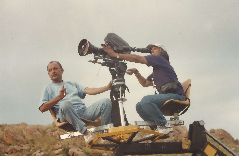 A on crane with Barun.