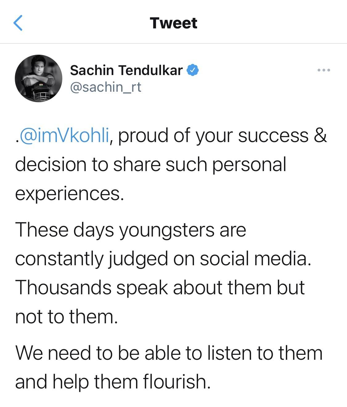 Sachin Tendulkar's tweet for Virat Kohli opening up about his depression