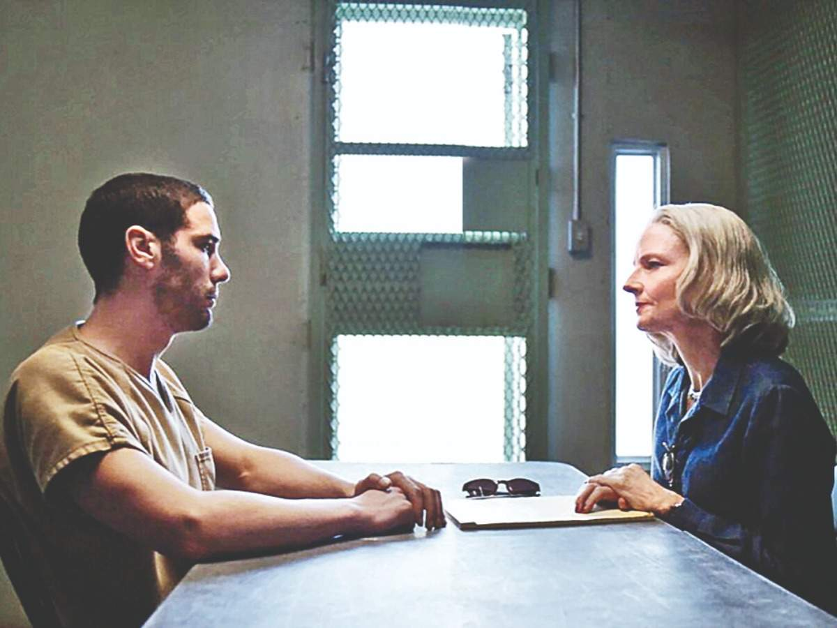 Tahar Rahim and Jodie Foster in an intense scene from the movie 'The Mauritanian'