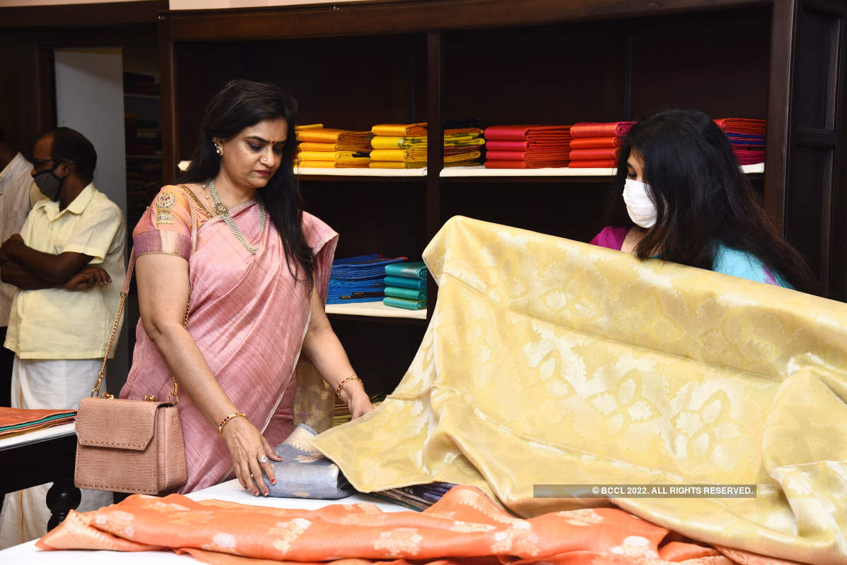 Aruna Sairam attends the launch of silk sari section of a store