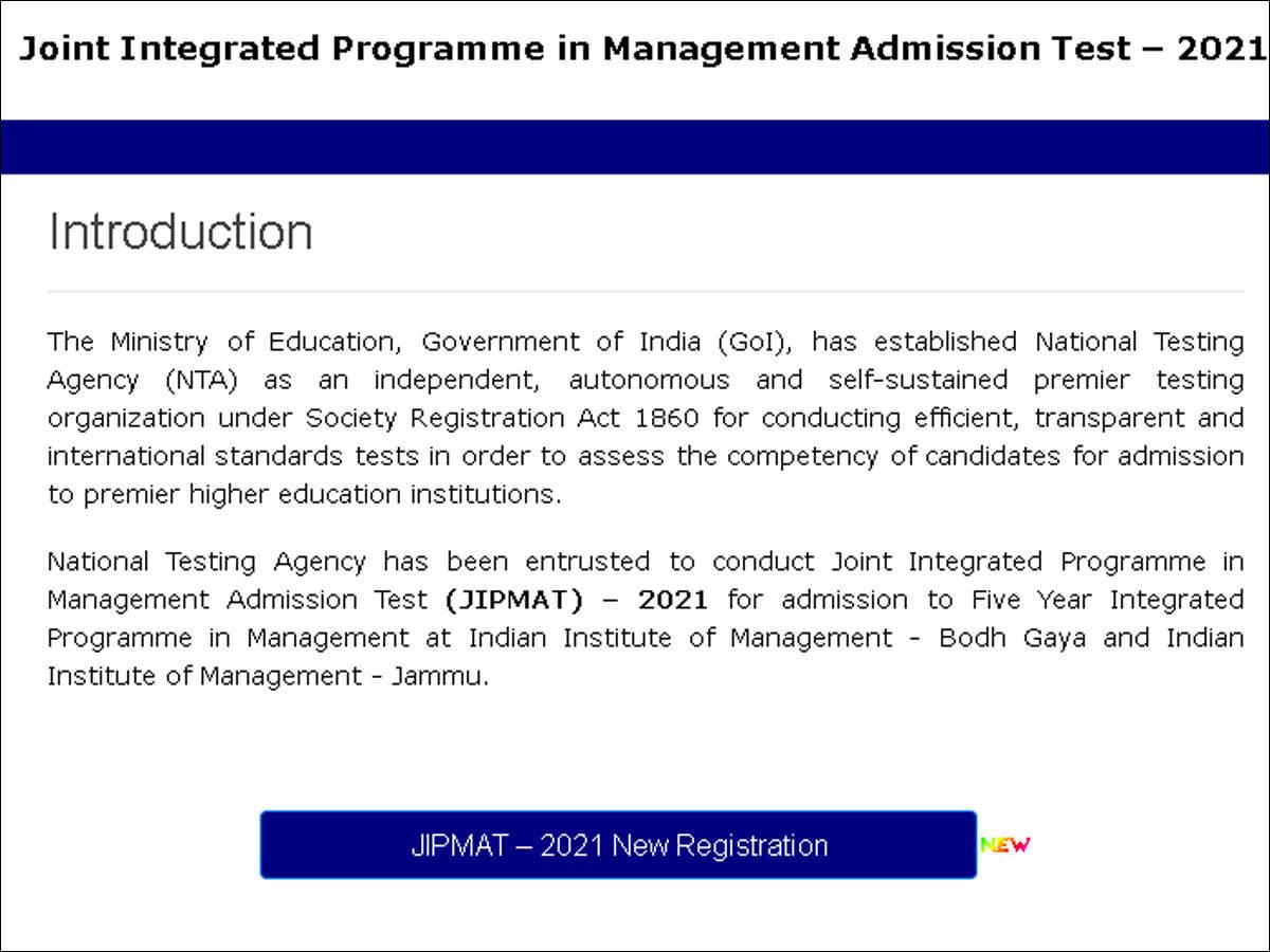 Alert: JIPMAT 2021 registration starts; check details here