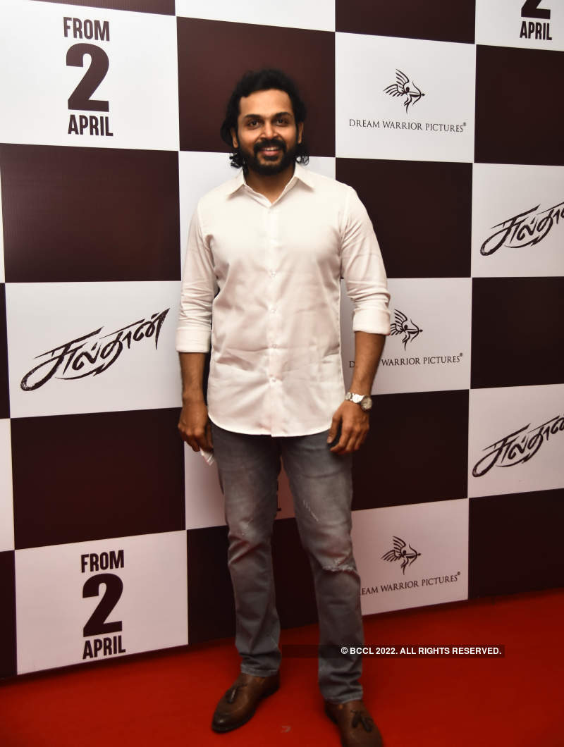 Karthi and Rashmika Mandanna attend the pre-release event of Sulthan's trailer