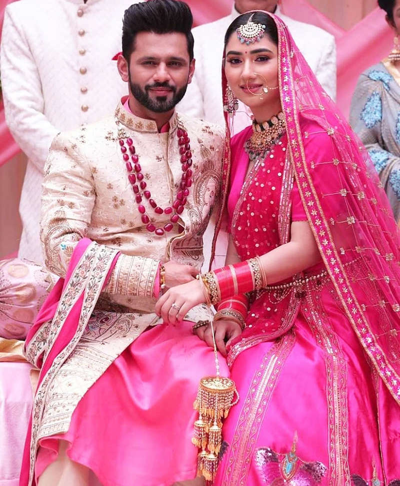 Pictures of much-in-love couple Rahul Vaidya and Disha Parmar in wedding outfits go viral