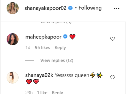 Screenshot of Shanaya's IG comments section