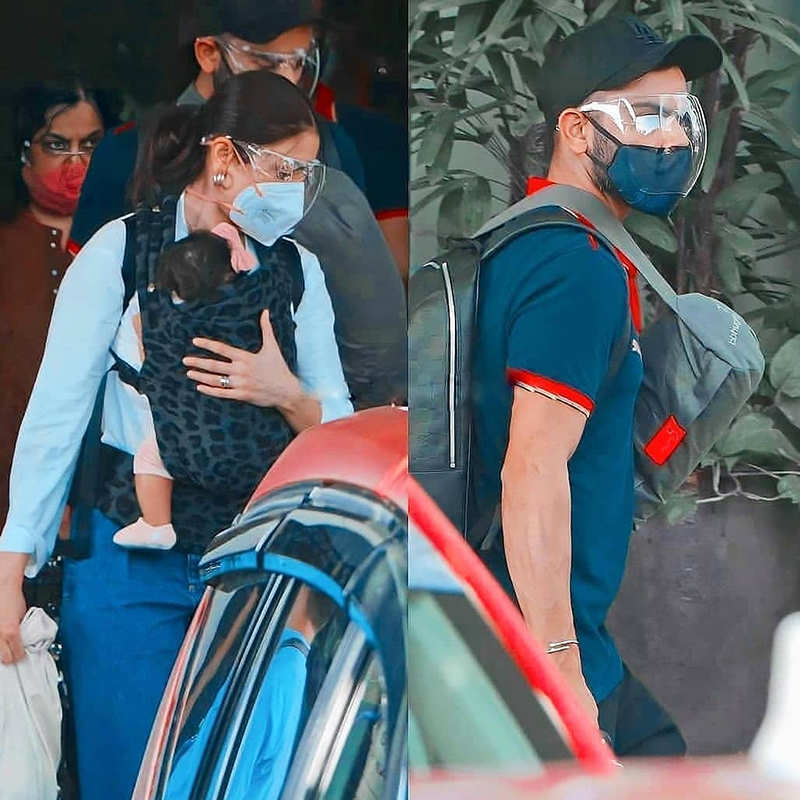 Pictures of Anushka Sharma holding little Vamika as she arrives in Mumbai with hubby Virat Kohli go viral
