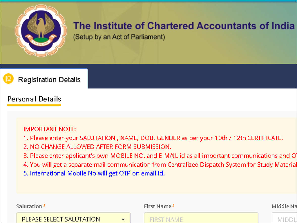 CA Foundation registration: Students without class XII admit cards can apply by declaring 'appearing'