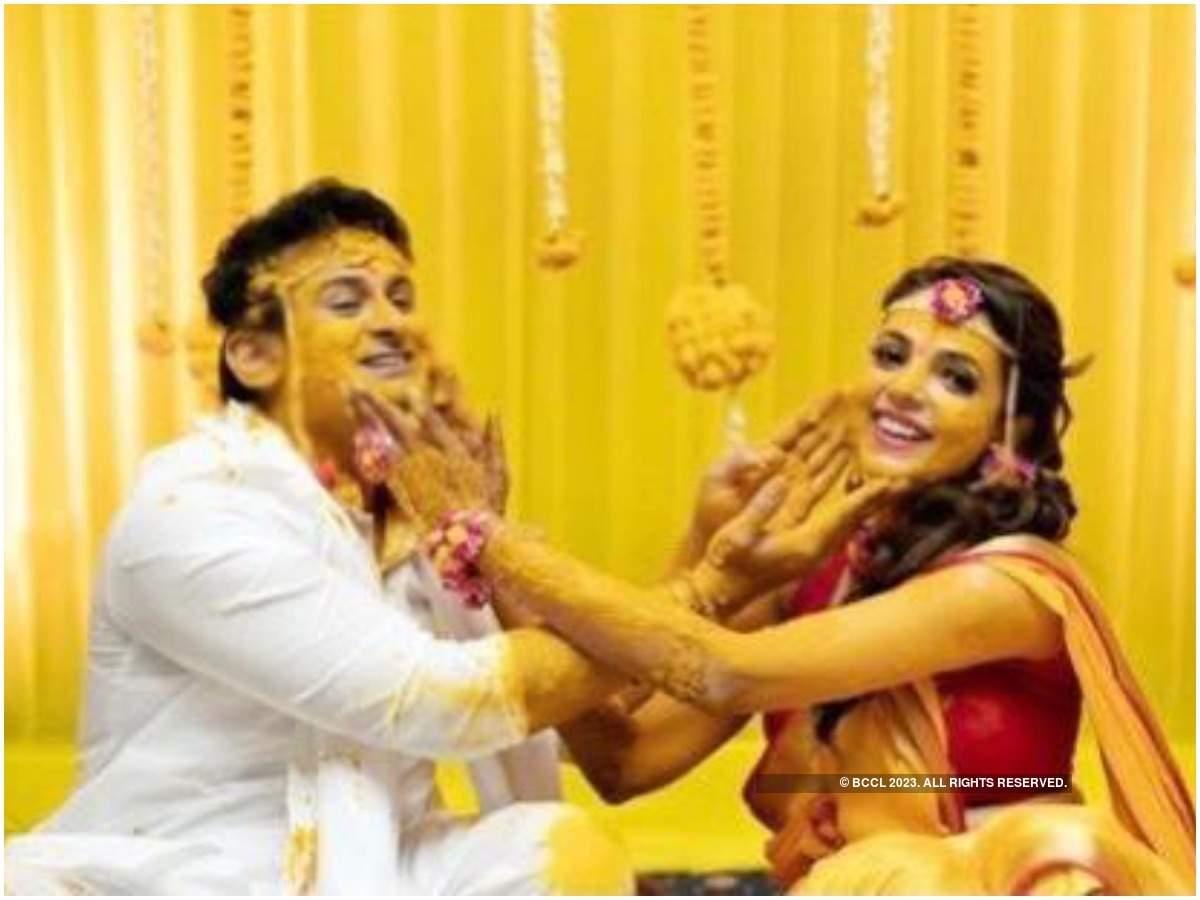 Dr Sanket and Sugandha at their haldi ceremony