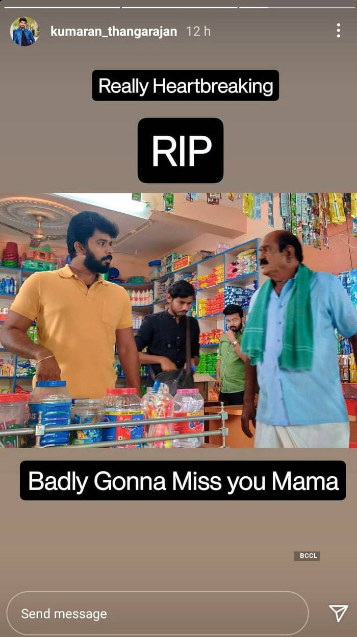 Kumaran Thangarajan of Pandian Stores mourns Nellai Siva's demise