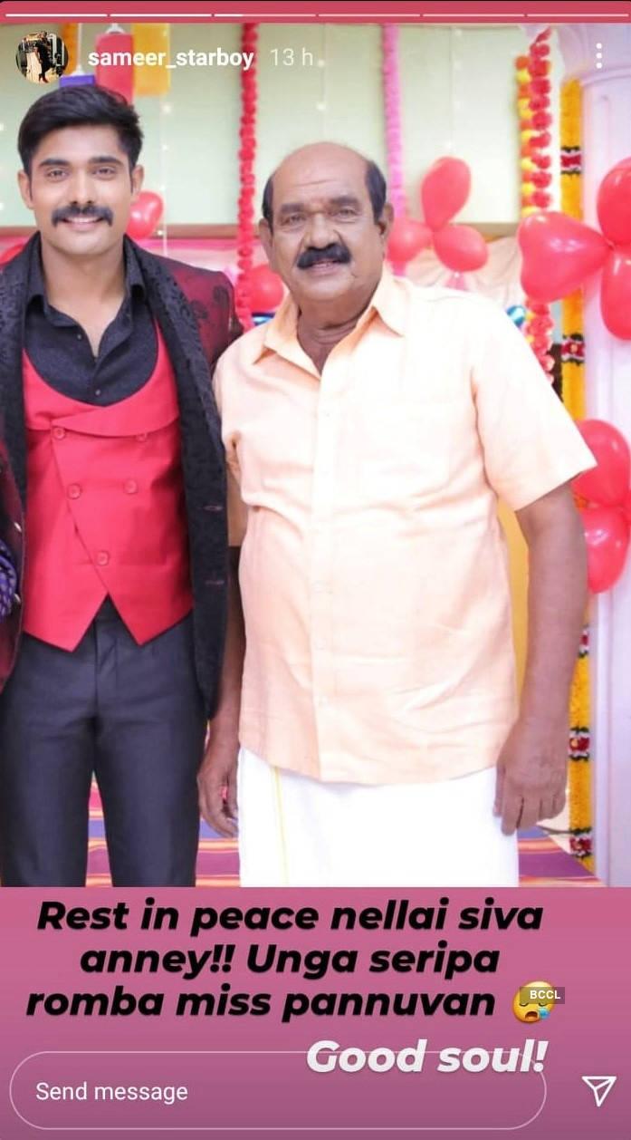 Sameer Ahamauthu of Sillunu Oru Kaadhal mourns Nellai Siva's demise