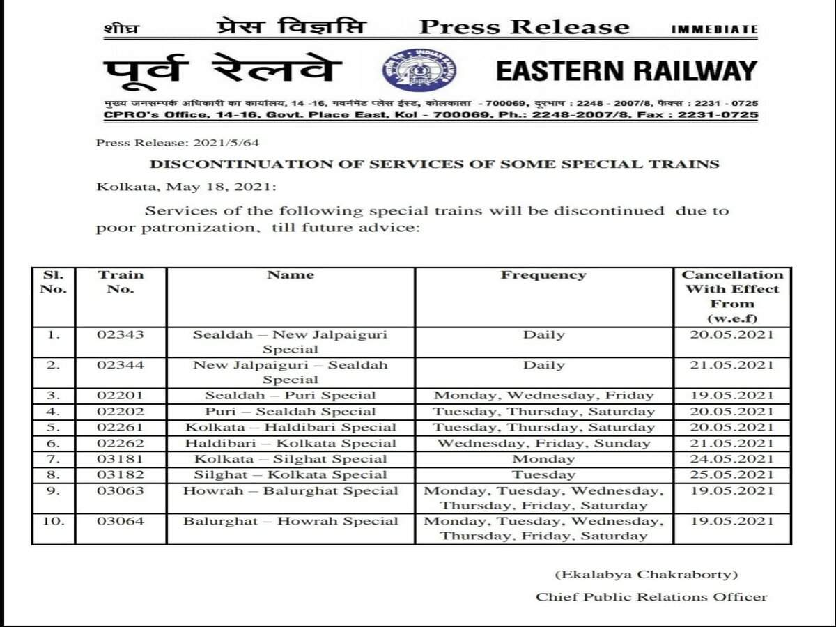 Indian Railways cancel several trains till May 19