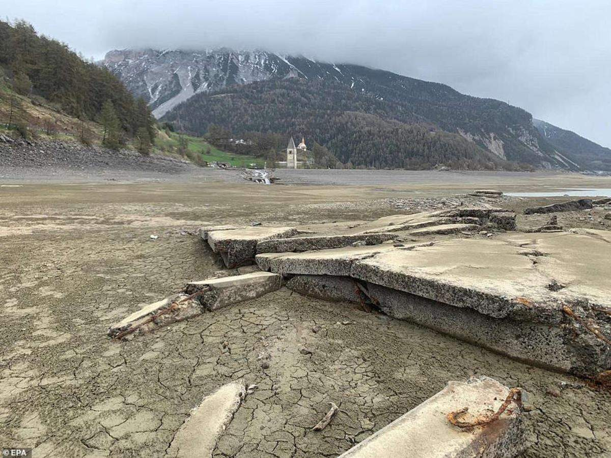 An Italian village that was once under water has now reappeared dramatically