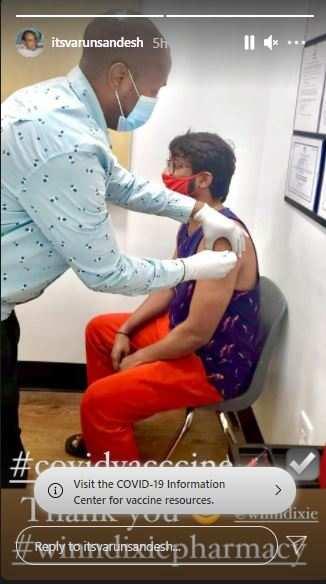 Varun Sandesh gets vaccinated