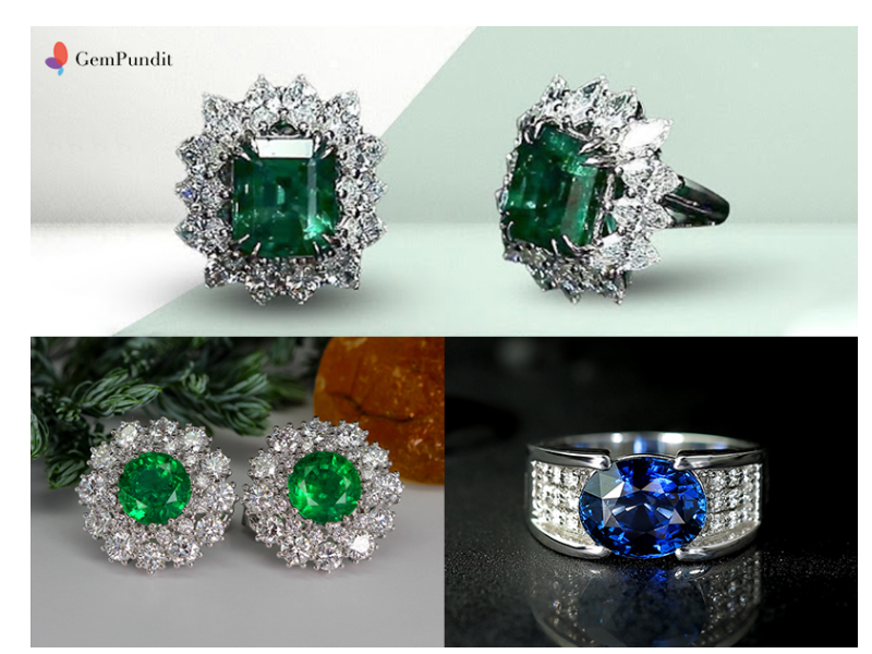 From-left-to-right---Green-Bloom-Emerald,-Floral-emerald-earrings-and-Gayatri-Mantra-Royal-sapphire-ring