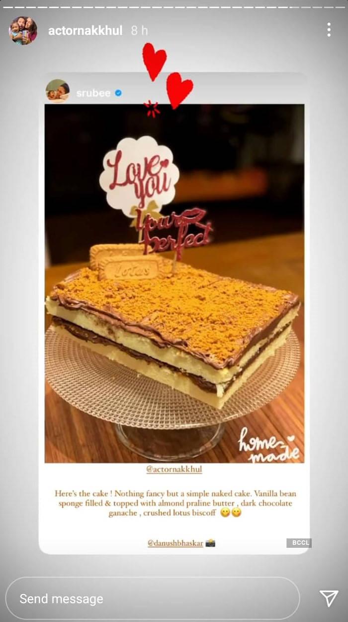 Sruti's home-made cake for Nakhul Jaidev