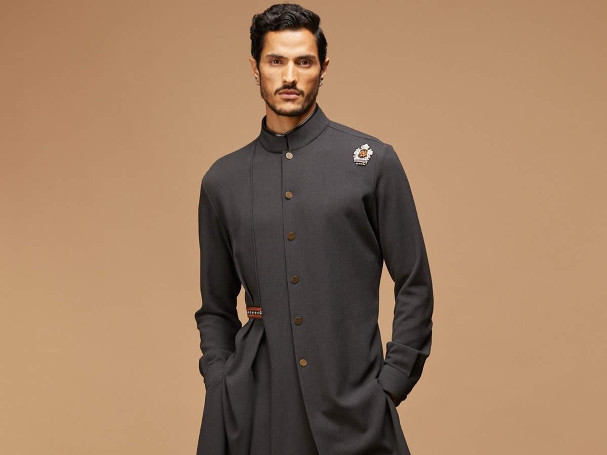 Slate grey crested shirt kurta