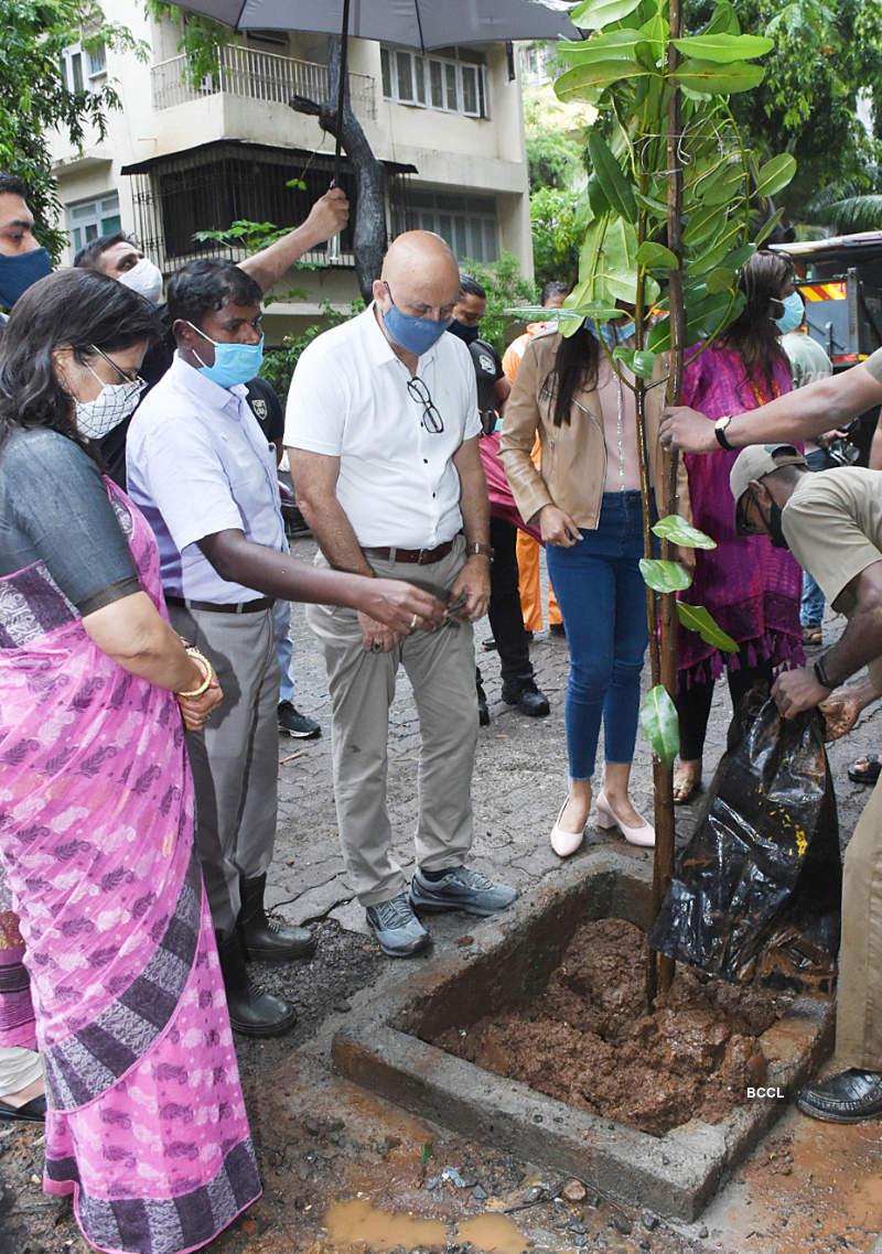 Anupam Kher participates in a tree plantation campaign