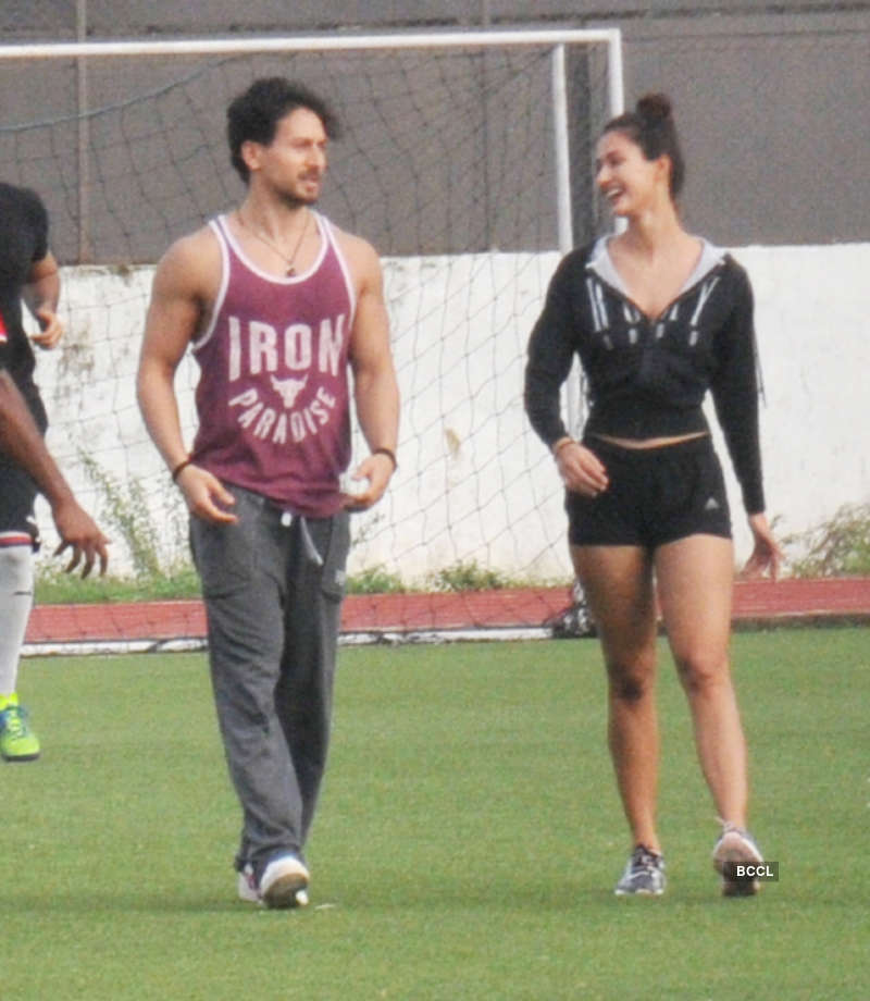 Disha Patani joins beau Tiger Shroff as he practices football with Ranbir, Arjun Kapoor & others
