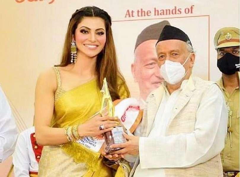 Urvashi Rautela awarded with 'Stree Shakti National Award 2021' by Governor Of Maharashtra Bhagat Singh Koshyari