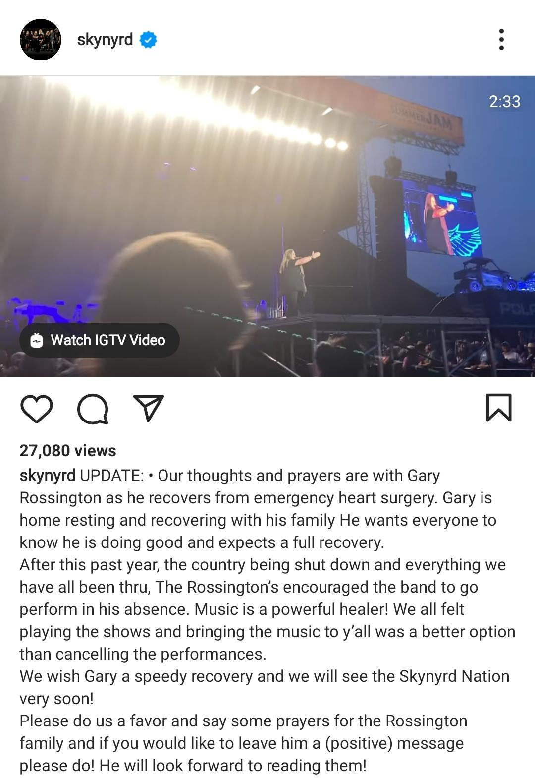 Veteran guitarist Gary Rossington shared an update about his health