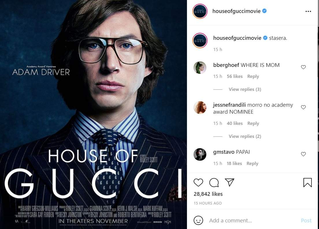Adam Driver's first look revealed from 'House of Gucci'