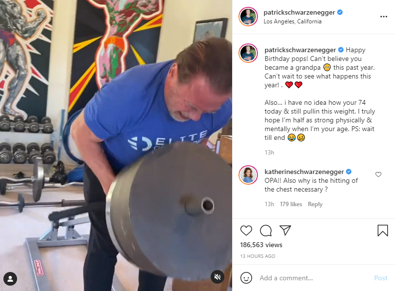 Patrick Schwarzenegger shared a wish for his father