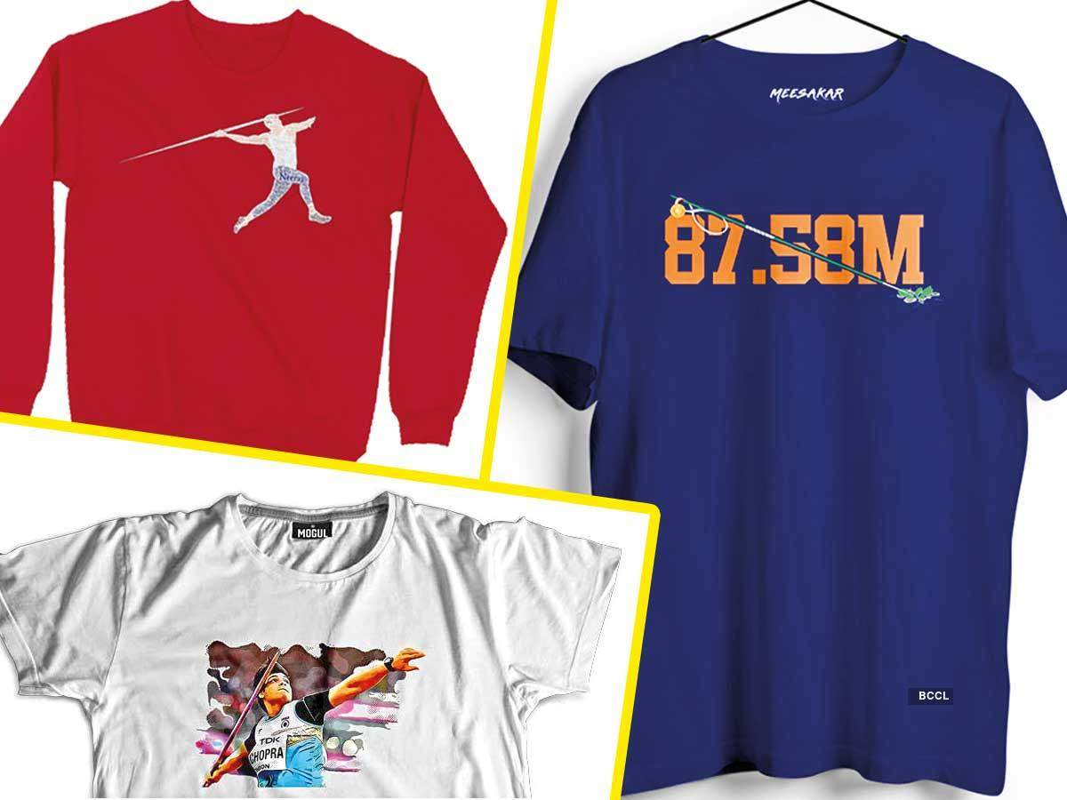 T-shirts featuring Olympic gold medal winner Neeraj Chopra, javelins & his winning moment are being sold online
