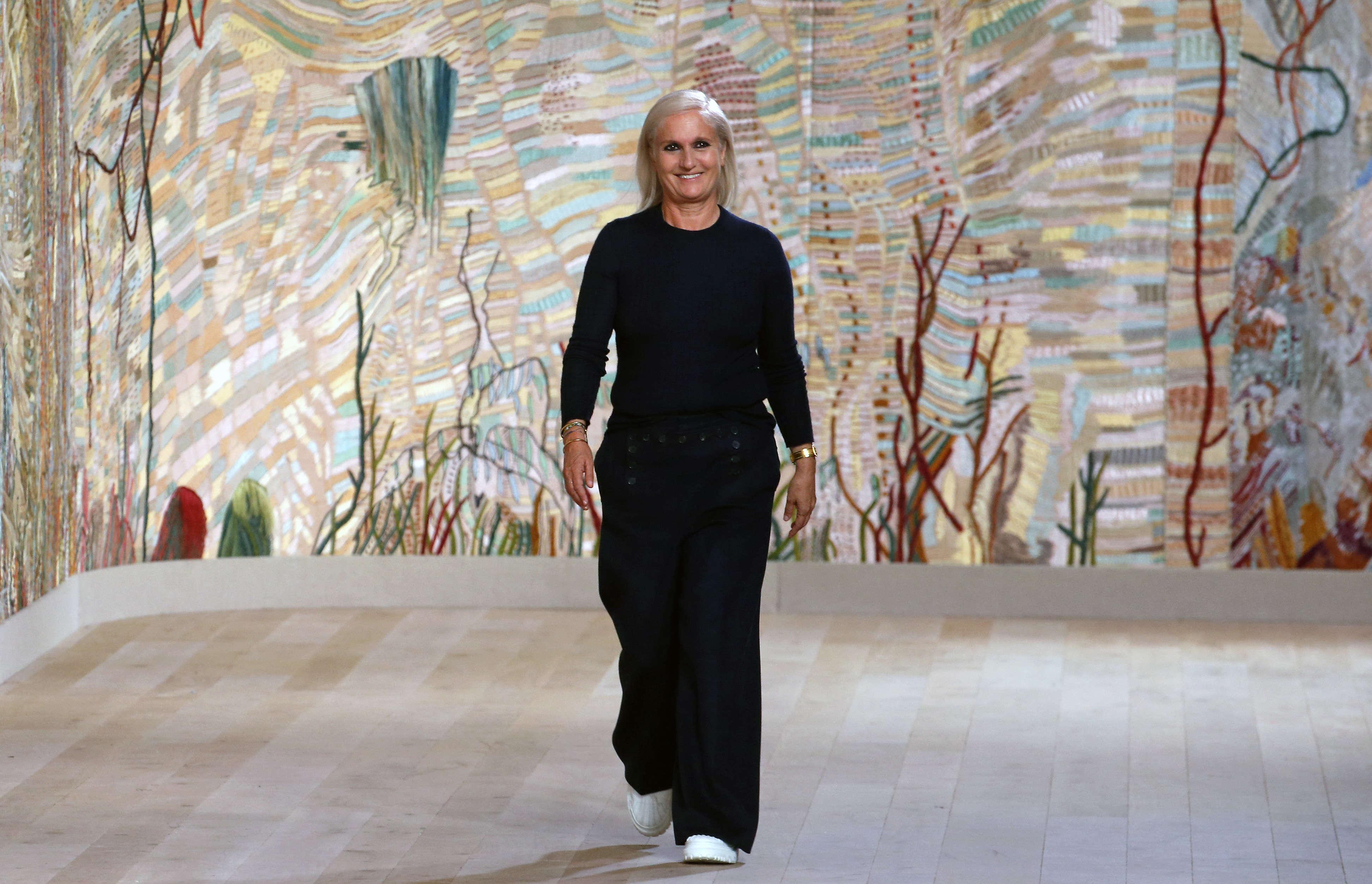 Dior's Maria Grazia Chiuri used a backdrop embroidered by Mumbai's Chanakya School of Art