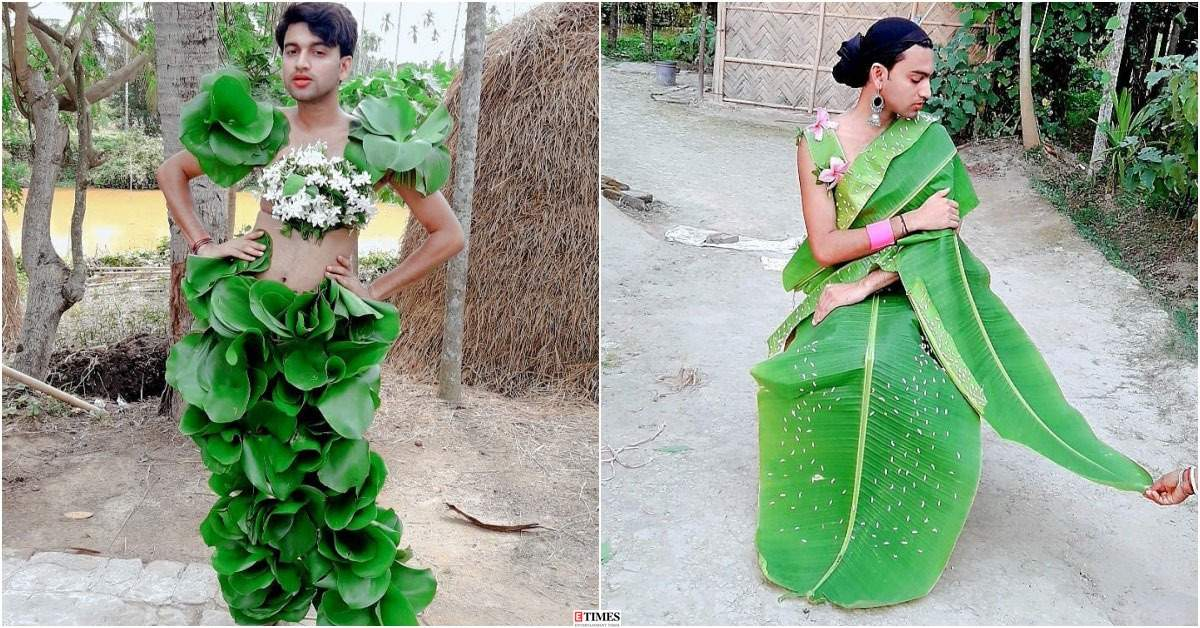 Meet Sarbajit Sarkar aka Neel Ranaut, the 'village fashion influencer' from Tripura who recreates celeb looks with leaves and flowers