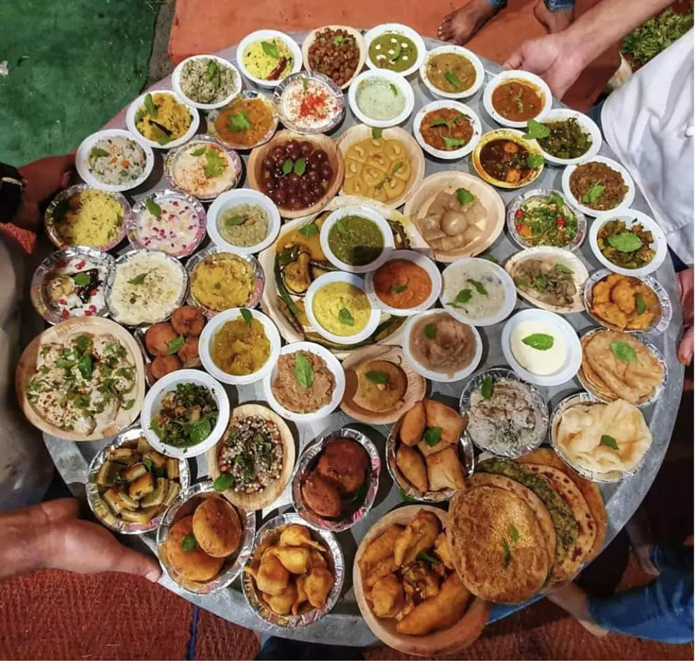 A glimpse of the traditional Chappan Bhog offered to Lord Krishna.