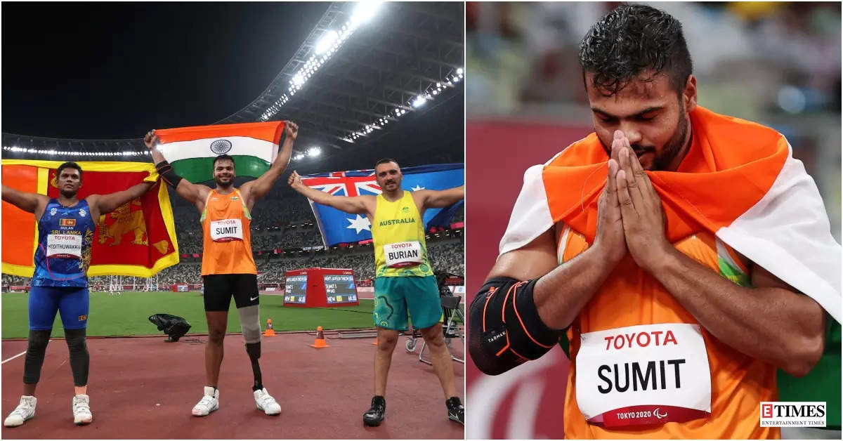 Tokyo Paralympics 2020: Sumit Antil bags javelin gold medal with world record throw, see pictures of his winning moment