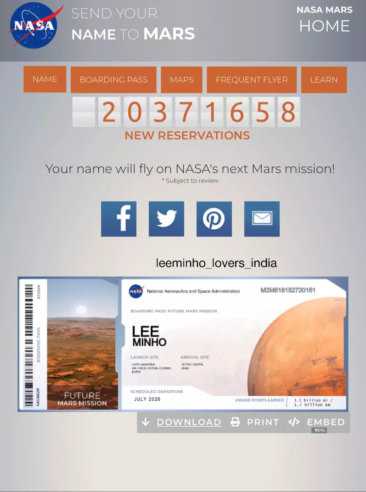 Indian Lee Min Ho fans send his name to Mars
