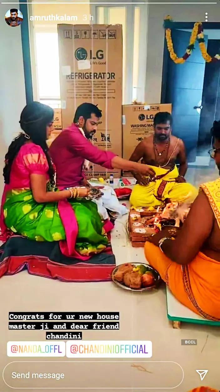 Chandini Tamilarasan-Nanda host their  housewarming ceremony on Vinayagar Chaturthi