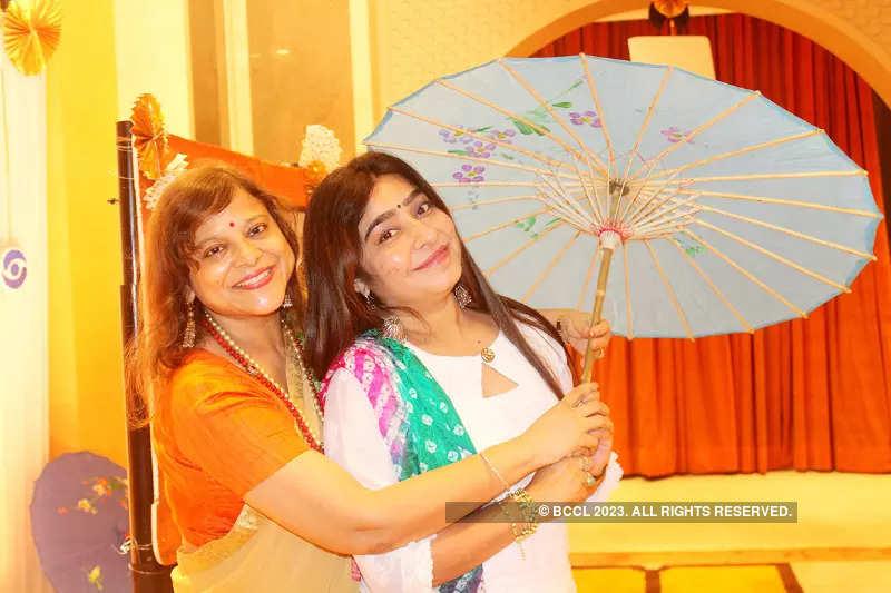 Ladies in retro mood in Banaras