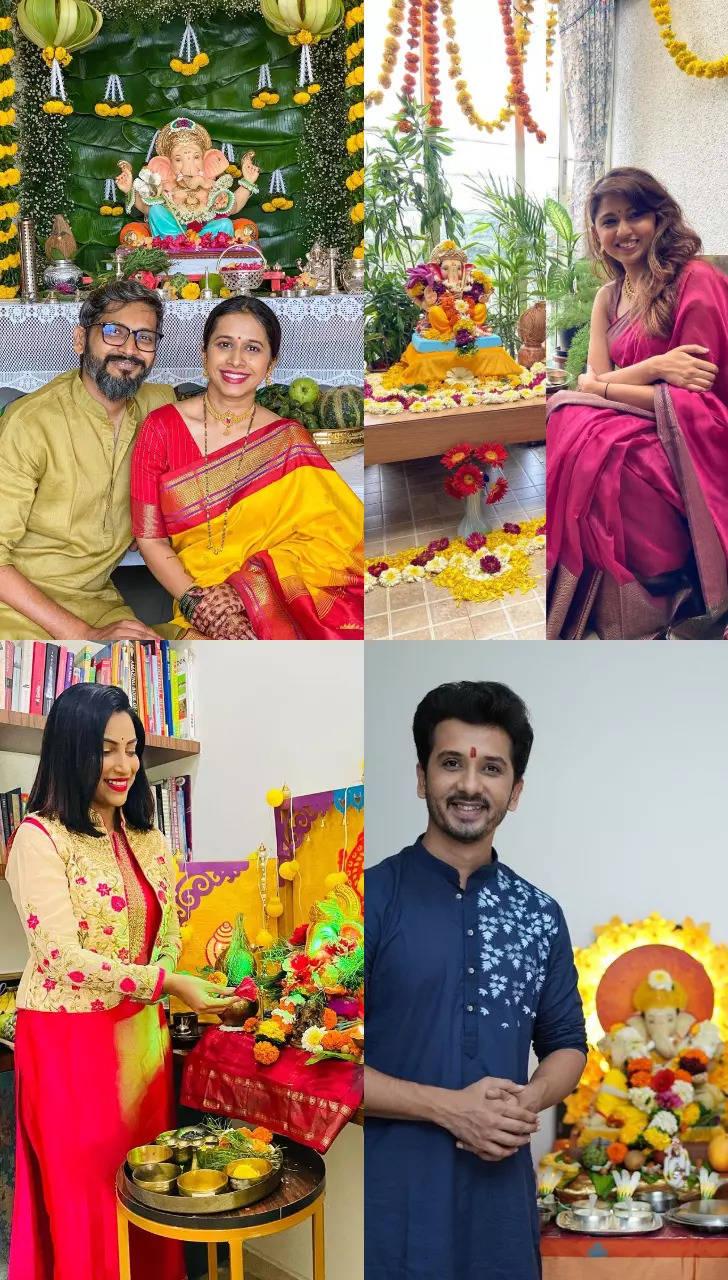 Marathi actors with their Ganpati Bappa