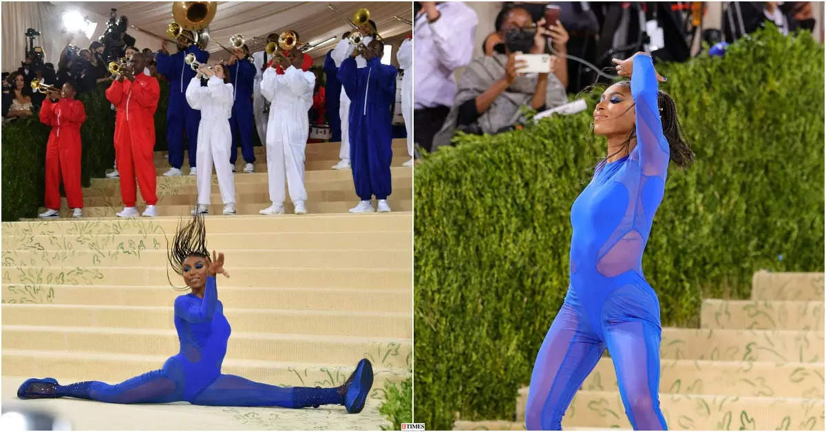 Nia Dennis's epic floor routine at the 2021 Met Gala impresses the internet! See pictures of the American gymnast's grand entrance