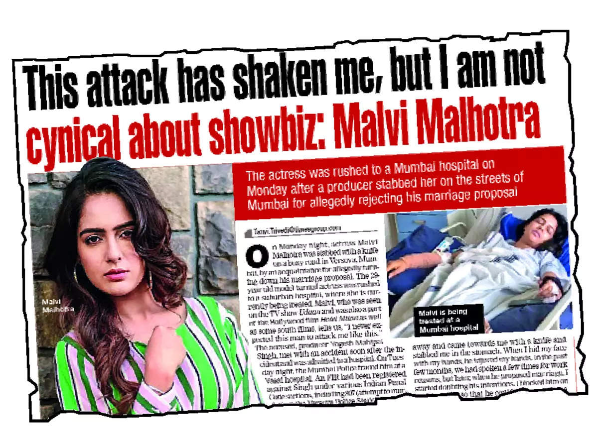 In October 2020, Malvi was stabbed multiple times by a producer for turning down his marriage proposal